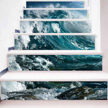 Sea Wave Pattern Decorative DIY Stair Stickers - SEA GREEN 100*18CM*6PCS
