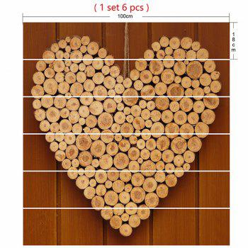 Valentine's Day Wood Heart Print Decorative DIY Stair Stickers - WOOD COLOR WOOD COLOR