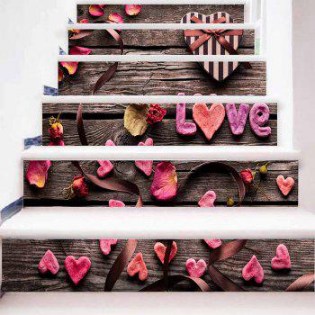 Love Petal Stair Riser Autocollants - Couleur de Bois 100*18CM*6PCS
