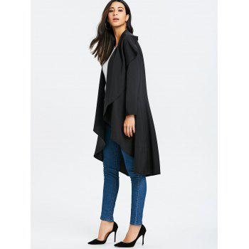 Open Front Asymmetric Duster Coat - BLACK S