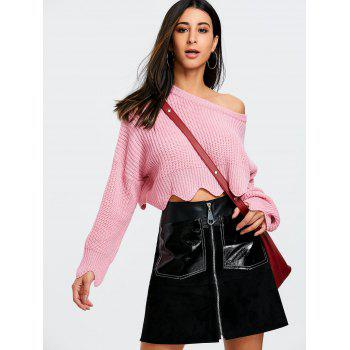 Scalloped Skew Neck Crop Sweater - PINK ONE SIZE