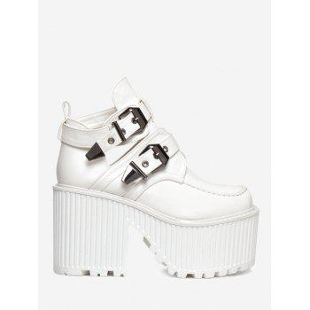 Platform Cut Out Buckle Strap Boots - WHITE WHITE