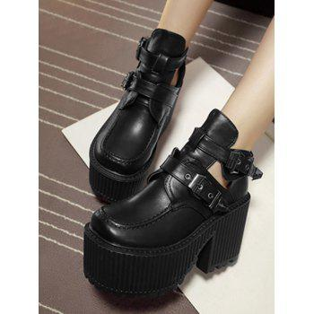 Platform Cut Out Buckle Strap Boots - BLACK 39