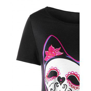 Skull Cat Print Crescent Hem Top - RED 2XL