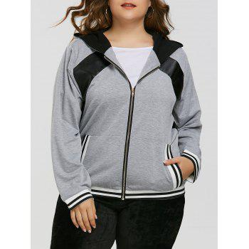 Zipper Faux Leather Insert Plus Size Hoodie - GRAY GRAY