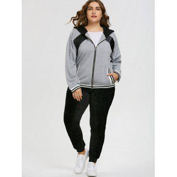 Sweat à Capuche Grande Taille à Empiècement en Similicuir - Gris 2XL