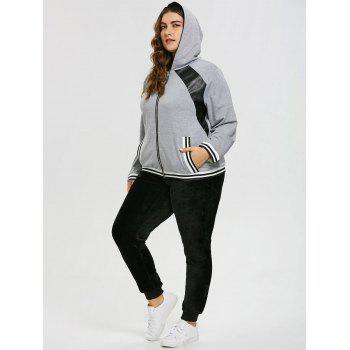 Sweat à Capuche Grande Taille à Empiècement en Similicuir - gris 4XL