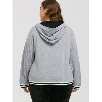 Zipper Faux Leather Insert Plus Size Hoodie - GRAY 5XL