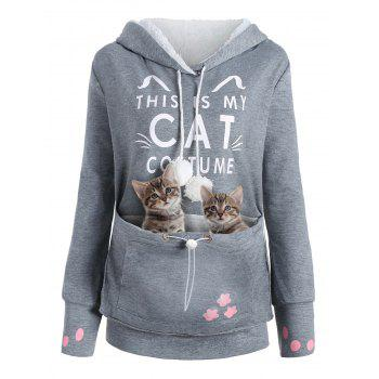 Plus Size Cat Kangaroo Pouch Pocket Hoodie - GRAY 4XL