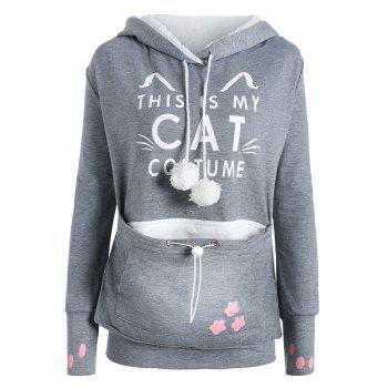Plus Size Cat Kangaroo Pouch Pocket Hoodie - GRAY 5XL