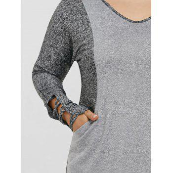 Plus Size Color Block Hooded Sports Top - GRAY GRAY
