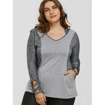 Plus Size Color Block Hooded Sports Top - GRAY 5XL