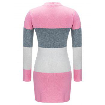 Open Front Color Block Cardigan - PINK L