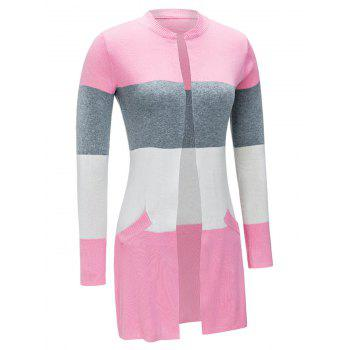 Open Front Color Block Cardigan - PINK XL