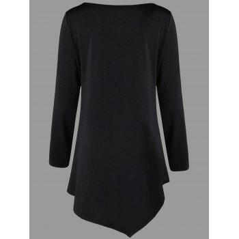 Plus Size Asymmetric Tunic T-shirt - BLACK 5XL