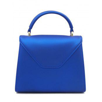 Flap Contrasting Color Handbag - BLUE