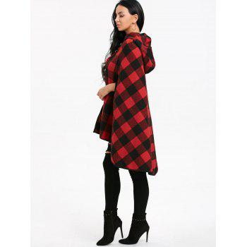 Plaid Batwing Sleeve Hooded Cape Coat - BLACK/RED M