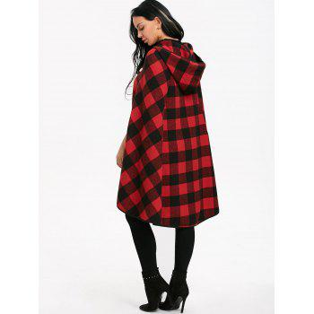 Plaid Batwing Sleeve Hooded Cape Coat - BLACK/RED XL