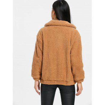 Zipped Fuzzy Front Pocket Coat - CAMEL L