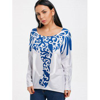 Abstract Elephant Printed Long Sleeve T-shirt - LIGHT GRAY 2XL