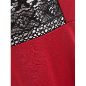 Lace Insert Plus Size A Line Party Dress - RED 2XL