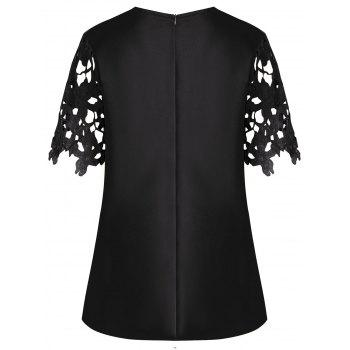 Plus Size Openwork Lace Insert Top - BLACK 4XL