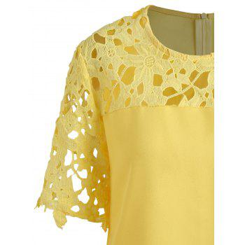 Plus Size Openwork Lace Insert Top - YELLOW 5XL