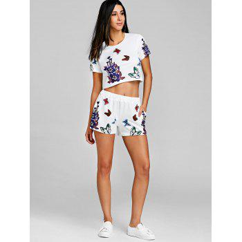 Floral Crop Top With High Rise Shorts - WHITE S