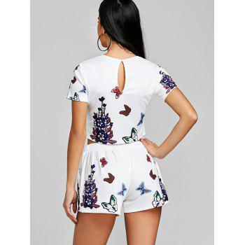 Floral Crop Top With High Rise Shorts - WHITE L