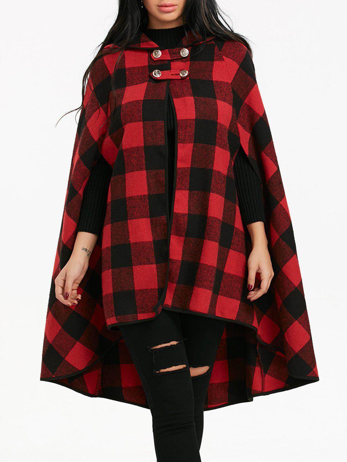 Plaid Batwing Sleeve Hooded Cape Coat - BLACK/RED S