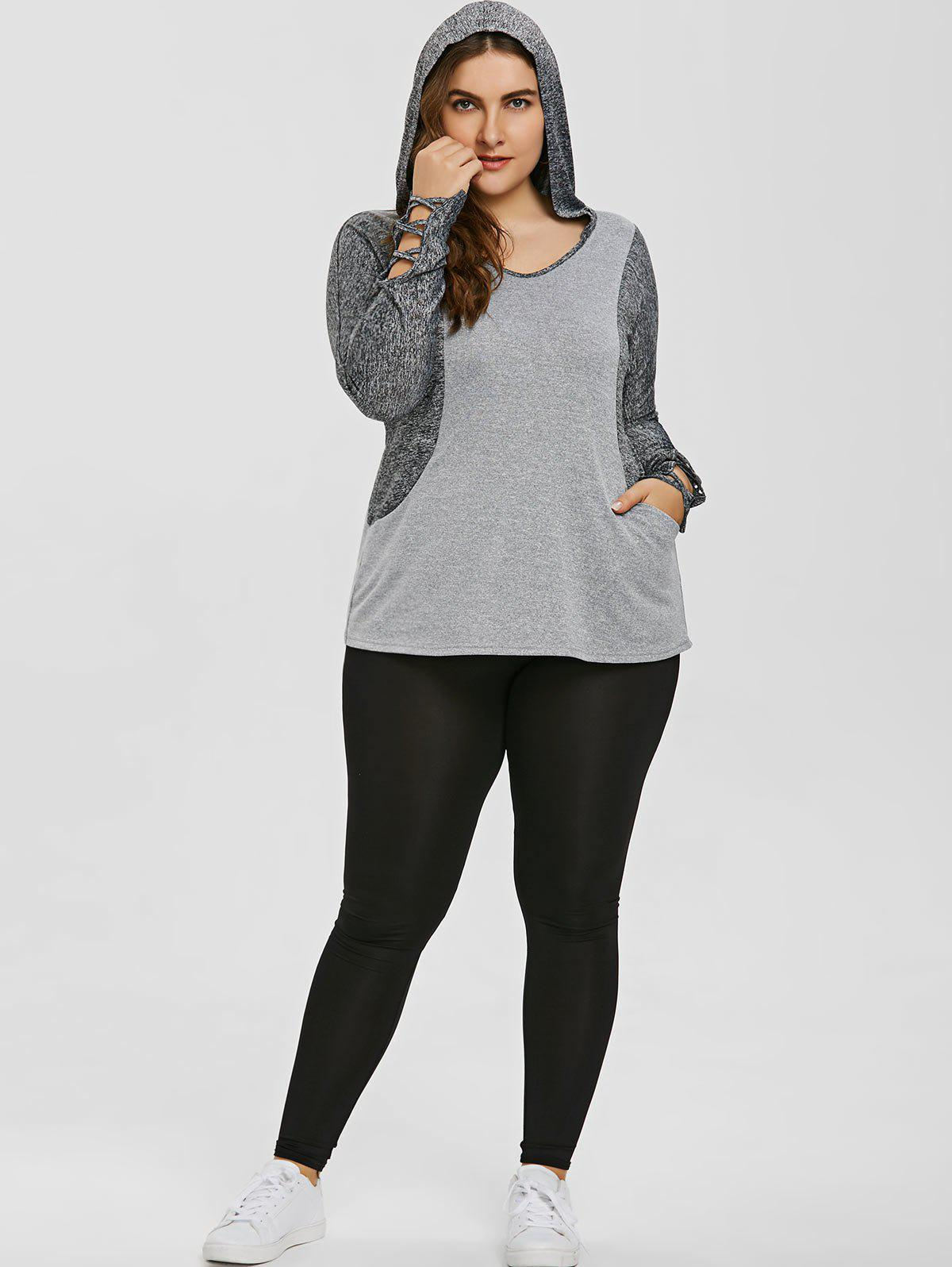 Plus Size Color Block Hooded Sports Top - GRAY 3XL