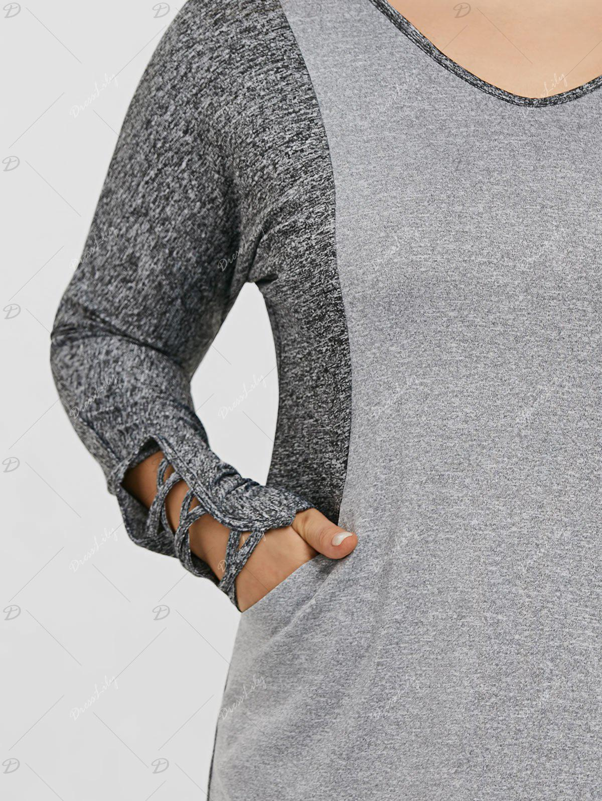 Plus Size Color Block Hooded Sports Top - GRAY 4XL