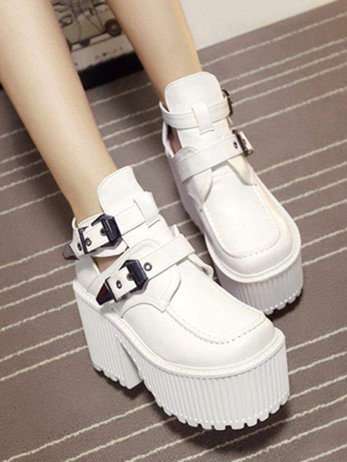 Platform Cut Out Buckle Strap Boots - WHITE 39