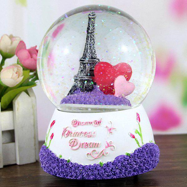 Lovely Paris Eiffel Tower Snowball Sculptured Resin Music Box light cube suite tower in paris eiffel tower led diy music spectrum electronic parts