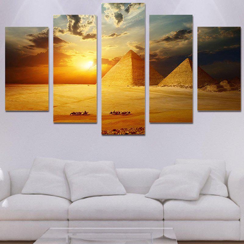 Wall Art Sunset Pyramids Printed Unframed Canvas Paintings seaside sunset sandbeach printed split unframed canvas paintings