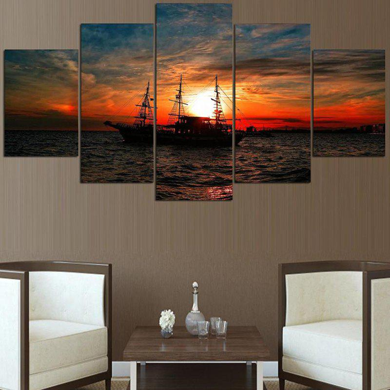 Sea Sunset Sailing Ship Pattern Canvas Wall Art Paintings burning guitar pattern unframed wall art canvas paintings