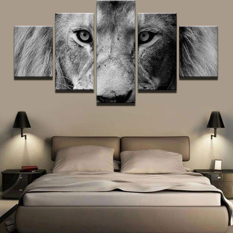 Lion Staring At You Printed Unframed Wall Art Canvas Paintings   GRAY 1PC:8*