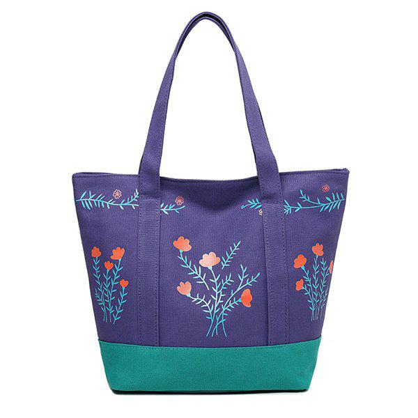Color Block Flower Print Tote Bag - PURPLE VERTICAL
