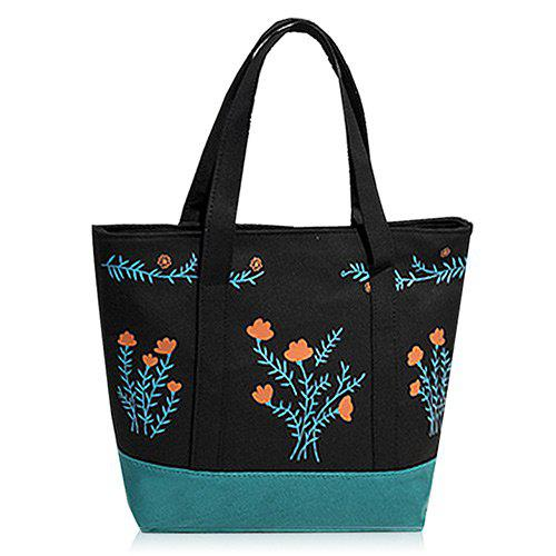 Color Block Flower Print Tote Bag - BLACK VERTICAL