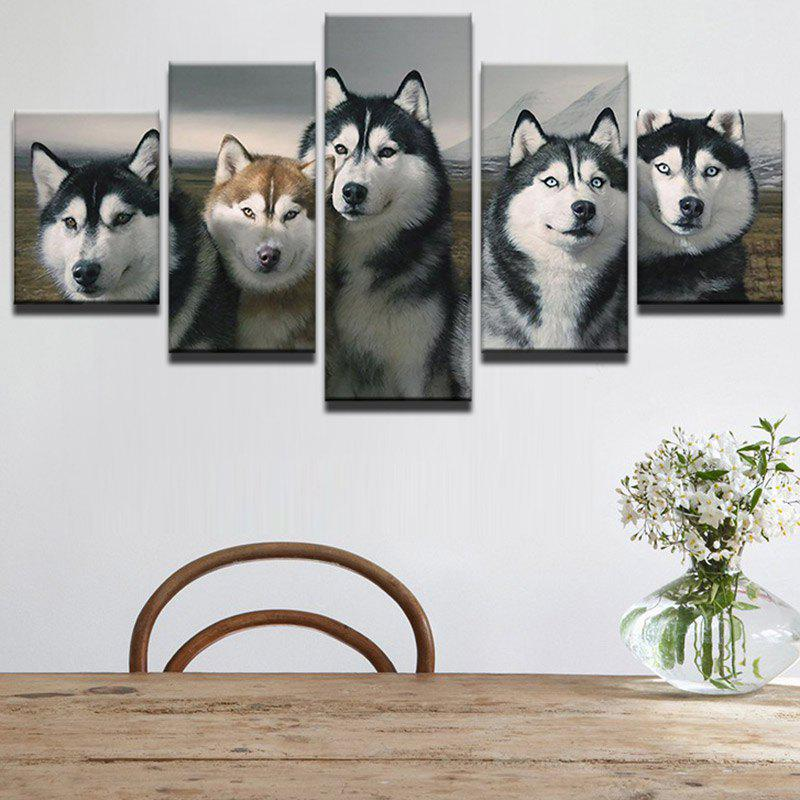 Unframed Five Wolves Printed Canvas Wall Art Paintings burning guitar pattern unframed wall art canvas paintings