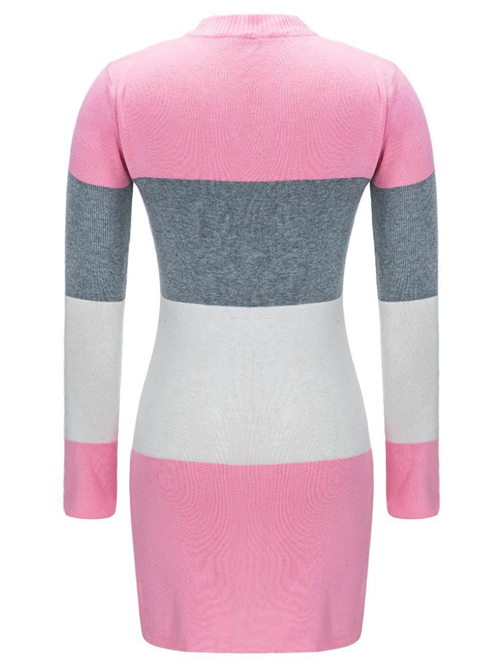 Open Front Color Block Cardigan - PINK 2XL
