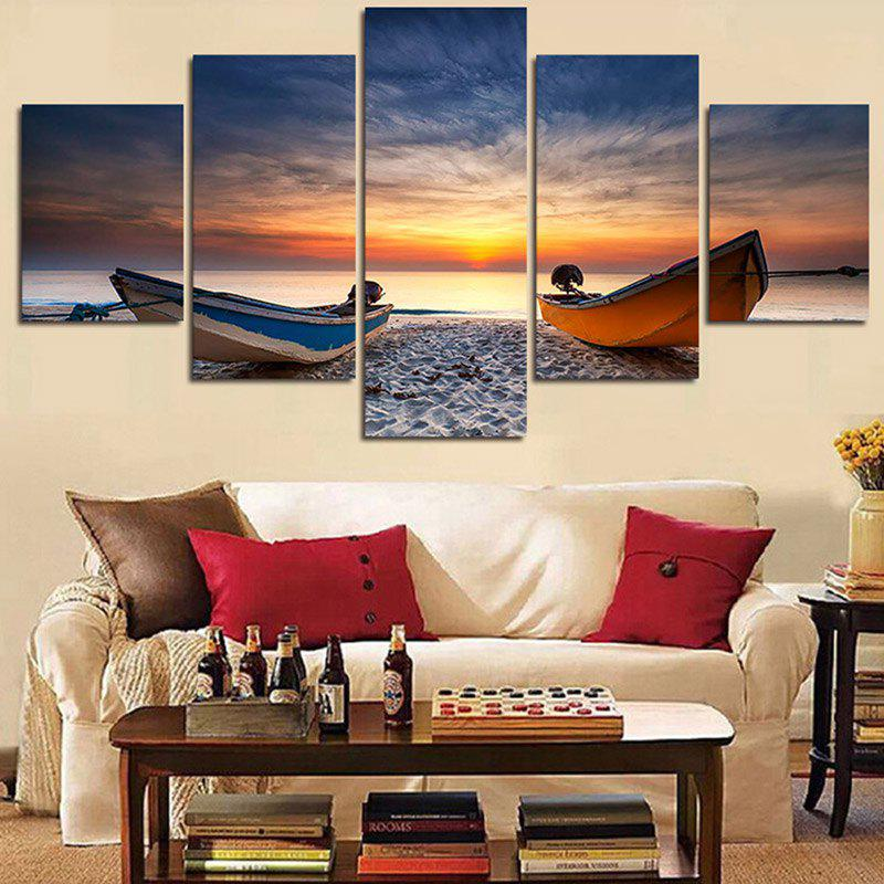 Seaside Boat Sunset Printed Split Unframed Canvas Paintings wall art sunset pyramids printed unframed canvas paintings