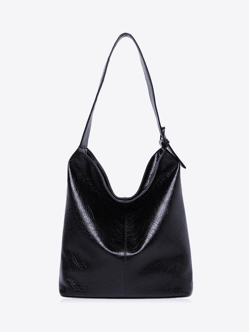 Faux Leather Buckled Shoulder Bag - BLACK