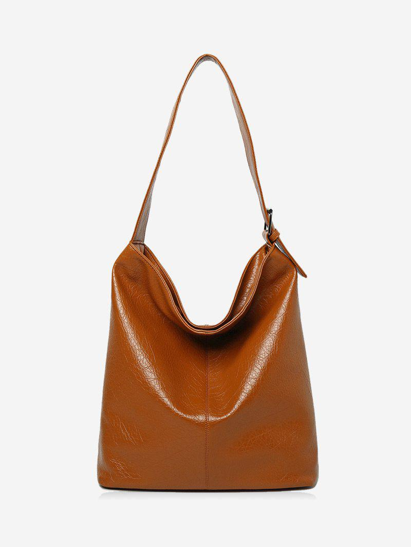 Faux Leather Buckled Shoulder Bag - BROWN