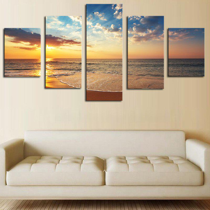 Seaside Sunset Sandbeach Printed Split Unframed Canvas Paintings seaside sunset sandbeach printed split unframed canvas paintings