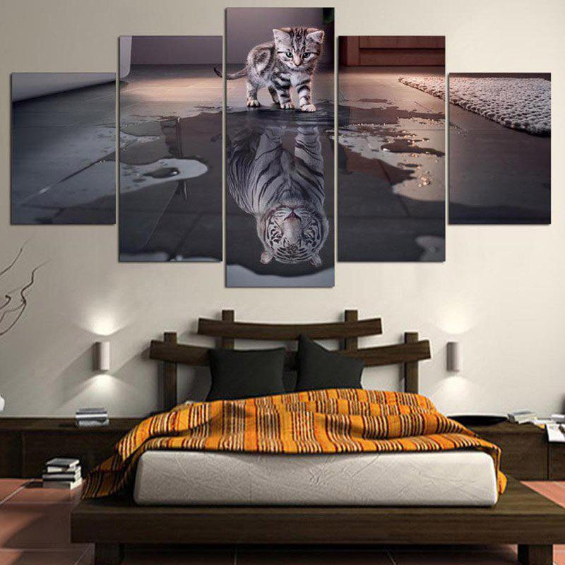 Tiger and Cat Printed Split Unframed Canvas Paintings seaside sunset sandbeach printed split unframed canvas paintings