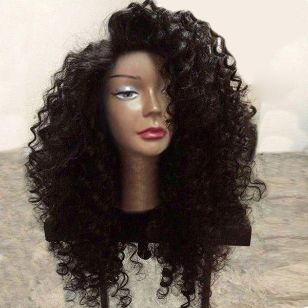 Long Side Parting Shaggy Deep Wave Synthetic Lace Front Wig - NATURAL BLACK