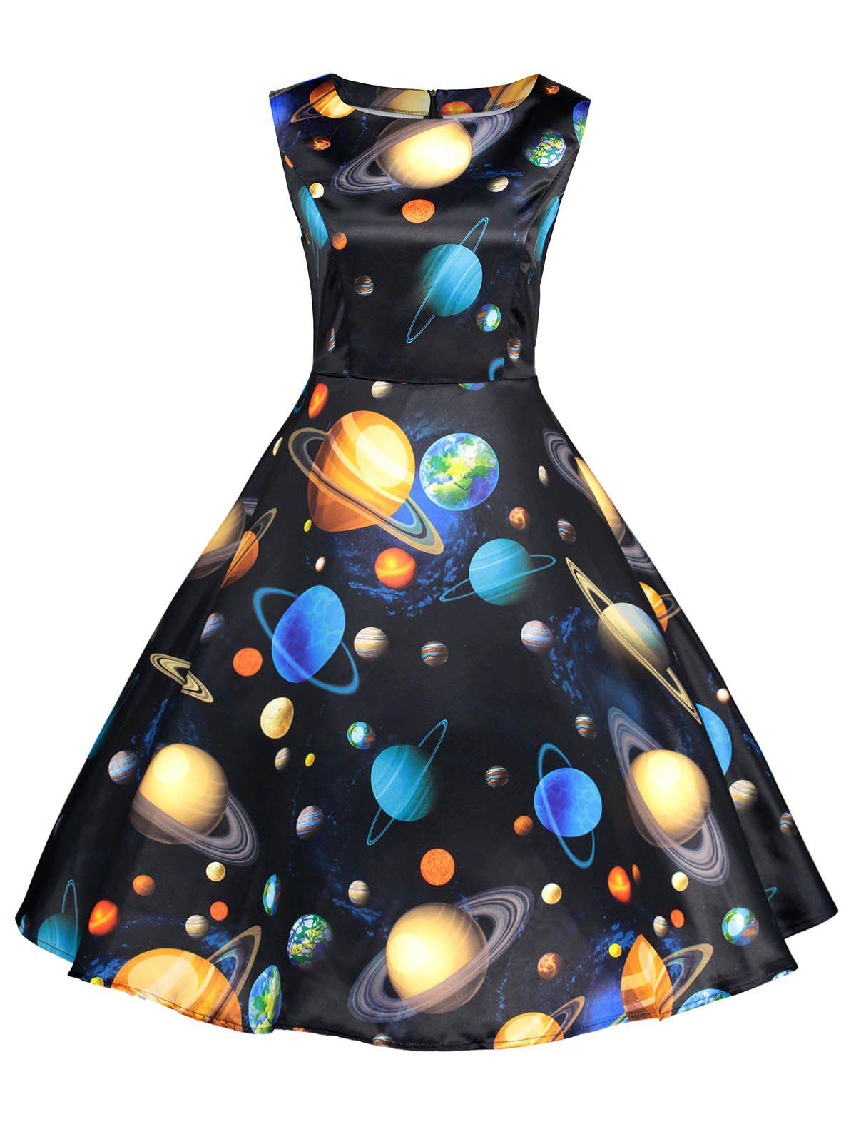 Planets Printed Sleeveless Fit and Flare Dress planets printed sleeveless fit and flare dress