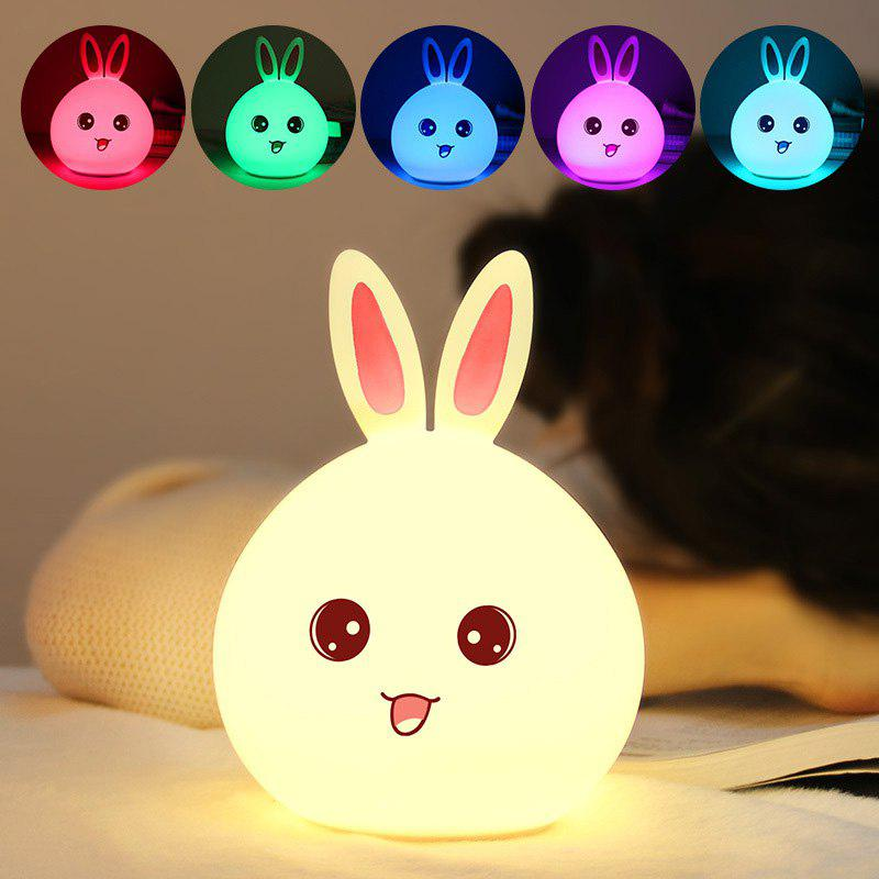 Cute Rabbit Control Color Changing Touch Silicone Night Light - COLORFUL