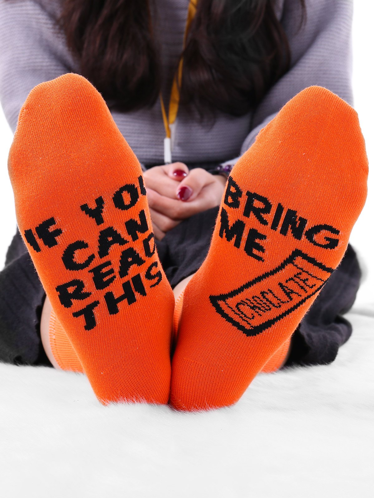Graphic Letter Print Crew Socks - ORANGE